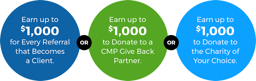 CMP Referral and Give Back Program